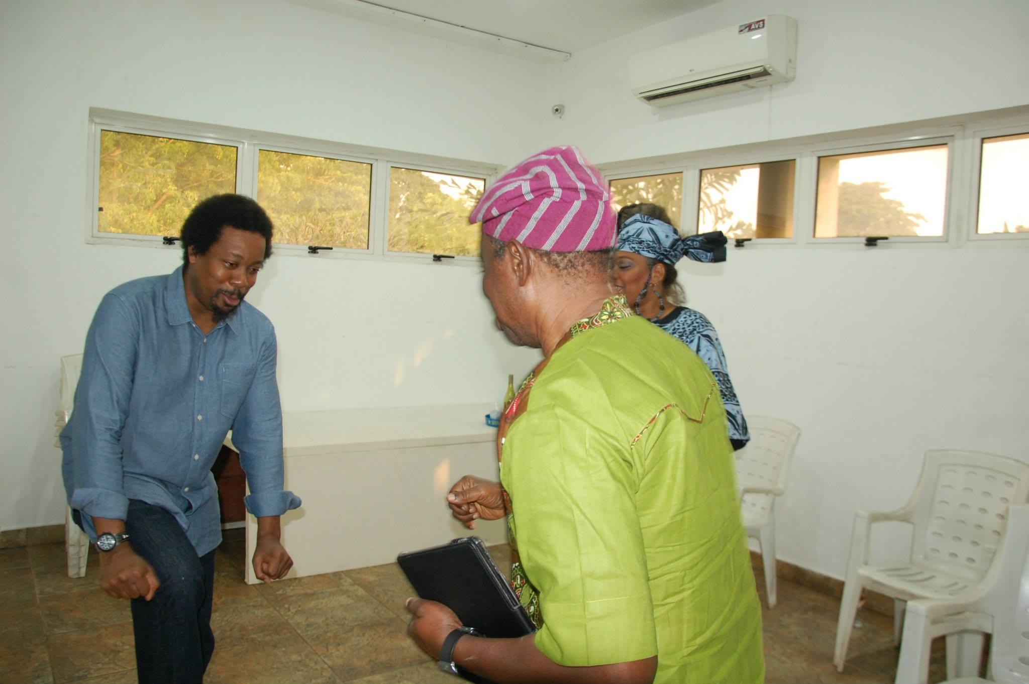 Showing some dance moves Mr Makin Soyinka and Tunde Kelani