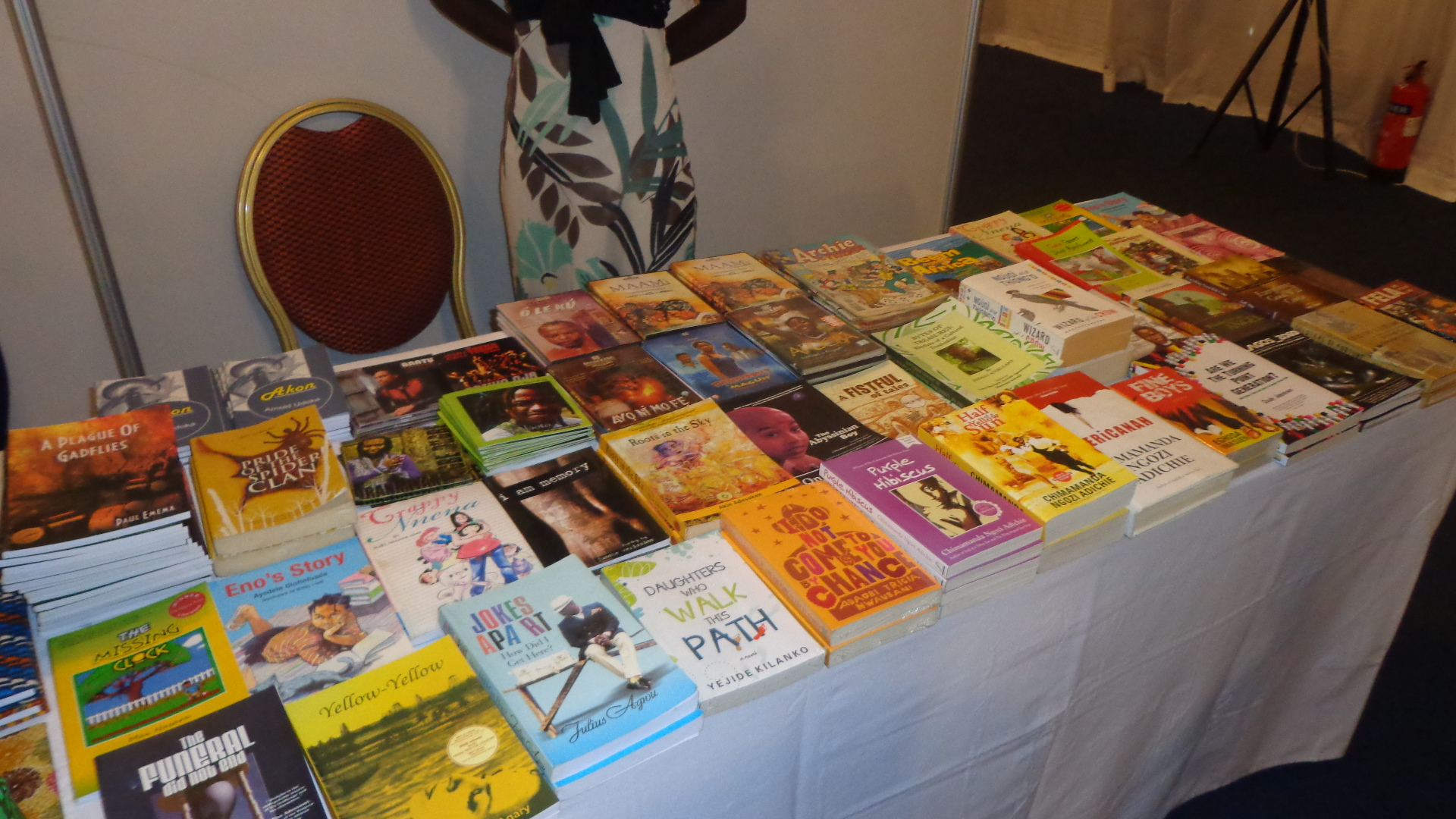 Books on display at the event.