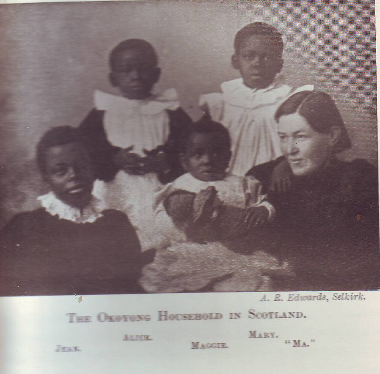 Mary Slessor with the four kids she adopted in Scotland.1881
