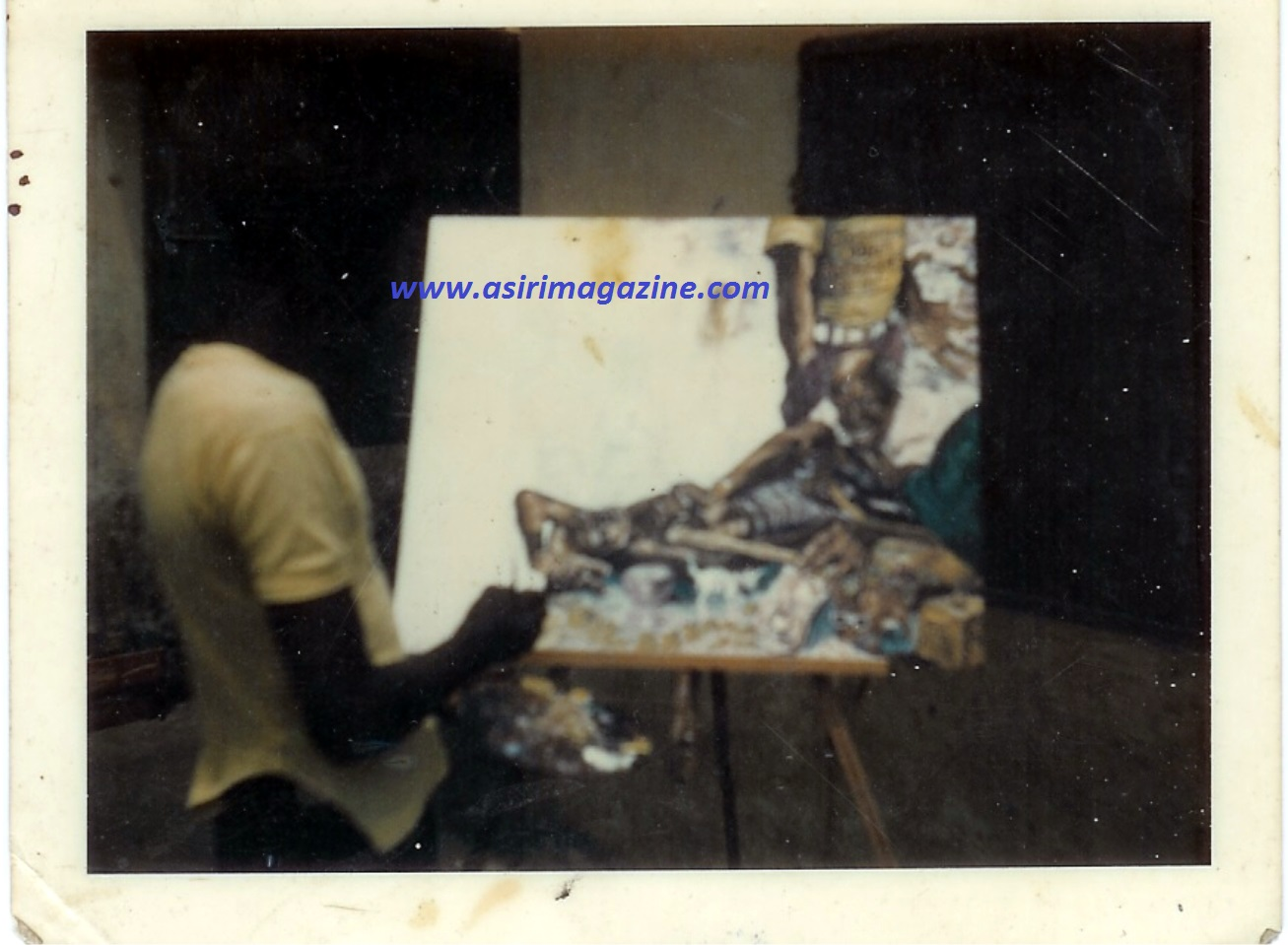 LEMI PAINTING FELA'S 'NO BREAD' COVER 2 (1975)