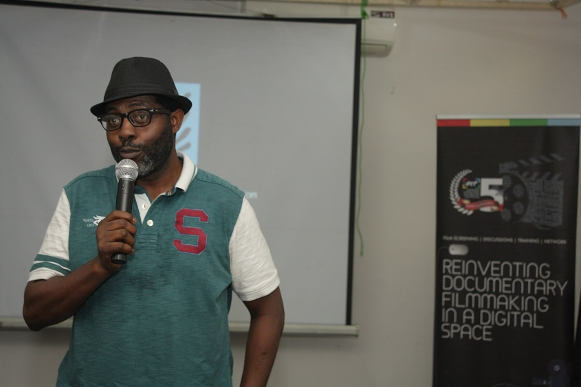 Femi Odugbemi of iREP introducing the film at the event.