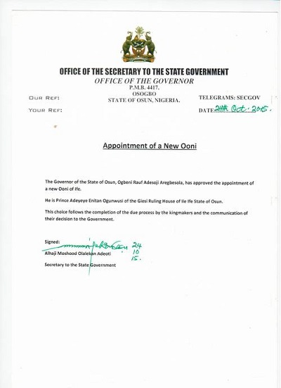 Appointment of  a New Ooni of Ife