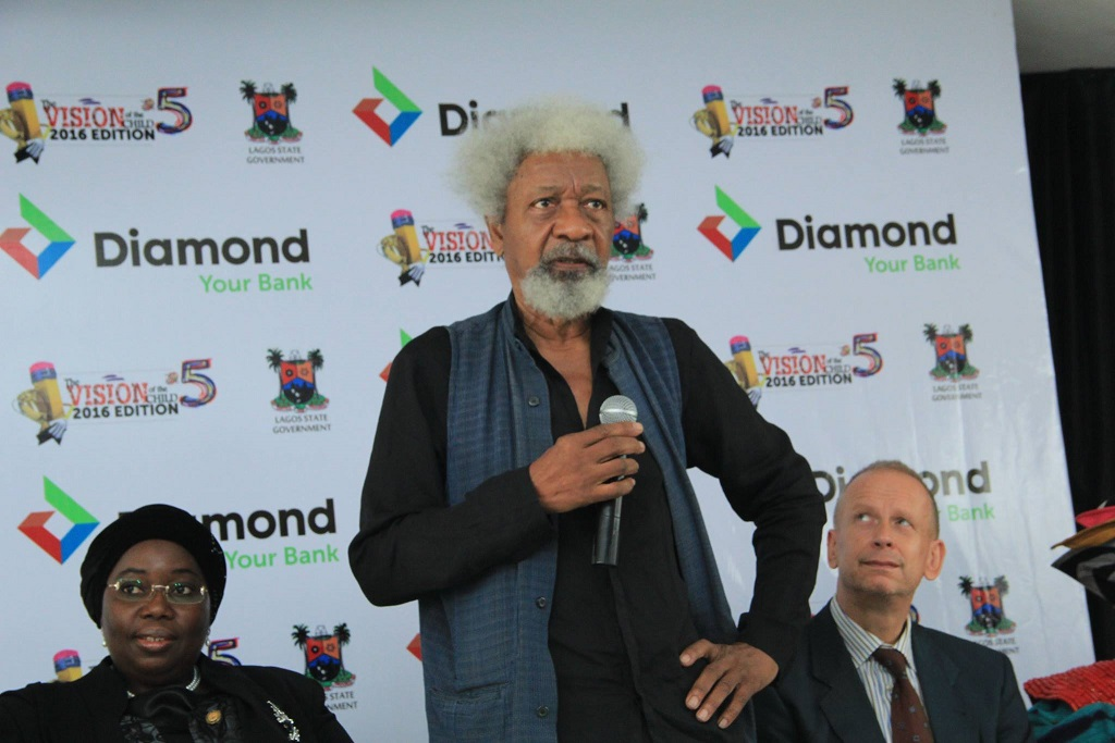 Prof,Wole Soyinka announcing the theme for the Vision of the Child 2016 Project