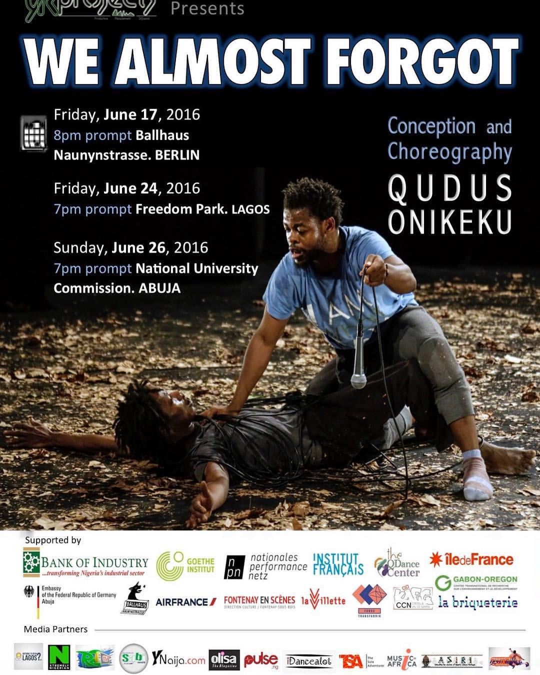 """Qudus Onikeku's """"We Almost Forgot"""" To be Premiered in Lagos and Abuja"""