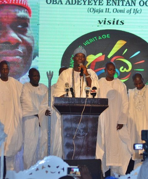 OOni on stage giving his speech