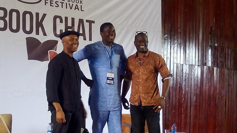 Okey Ndibe,Kola Tubosun and Alain at Ake Arts and Book Festival