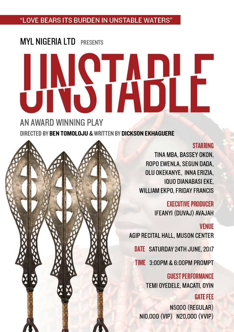 'UNSTABLE the Play,' Set to Grace the Lagos Stage