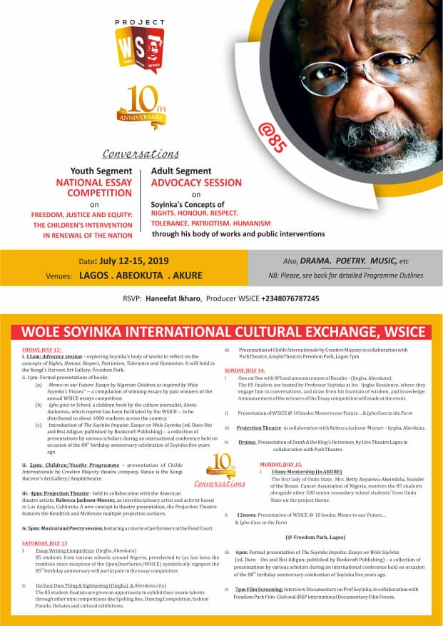 Wole Soyinka at 85 Order of Events